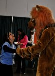 Judith Adams dancing with the lion