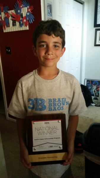 Braeden Mannering Kohls Cares National Scholarship Winner